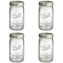 BALL MASON JARS 1440006704 - Paquete de 4 frascos de 945 ml para conserva con boca