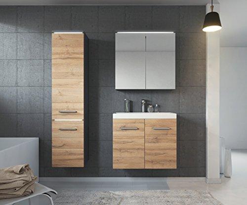 Badezimmer Badmöbel Toledo LED 60 cm Waschbecken Anthrazit mit Braun Fronten - Unterschrank Hochschrank Waschtisch Spiegelschrank