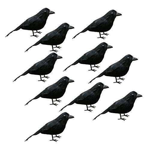 Homyl 10 Pcs Oiseaux Faux Artificiels Décoratifs De Plume Animale Décoration d'halloween