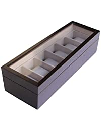 Case Elegance Uhrenbox für 6 Uhren mit Glasfenster