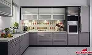 Unbekannt Küchenzeile 169038 Küche L-Form 240x370cm Lava/Vanille - Beige