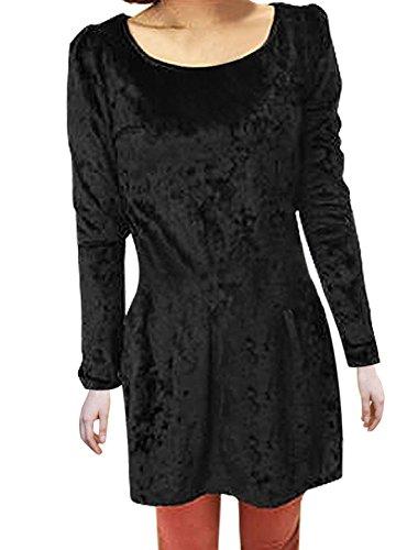 Femme Solid Manches Longues Col Rond Velours Robe Tunique Noir XS Noir