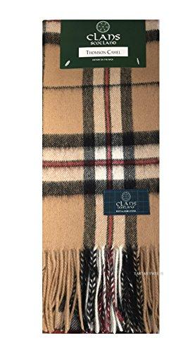 Clans of Scotland Schal aus reiner Lammwolle, Schottenkaro Gr. Einheitsgröße, Thomson Camel -
