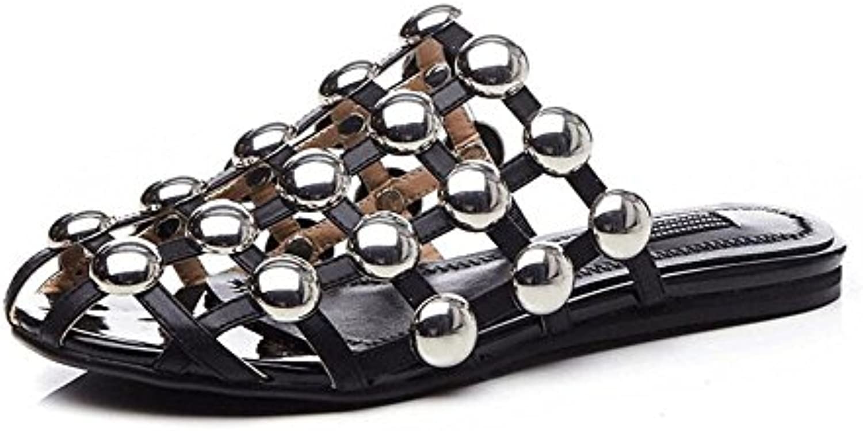 GLTER Femmes Sandales plates Slip-On pantoufles Femmes Summer Chaussures  Pump Chaussures Summer Hollow Flat 5bb2db47821