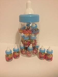Fizzy Lot de 20 mini biberons de bonbons pour baby shower Bleu