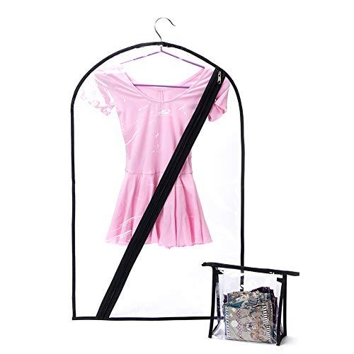 Taschen Tanz Kostüm - QEES Kinder-Tanzkostümbeutel, 2 Stück, durchsichtige Träume, Trachten-Taschen (inklusive transparenter Mini-Tote), Kinder-Kostüm-Tasche, hängende Kostüm-Aufbewahrungstasche für Tanz-Wettbewerbe