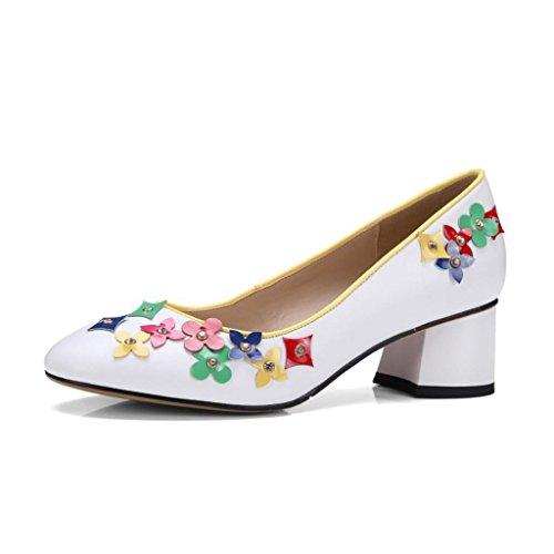 W&LMscarpe fine con in tacchi testa quadrata bocca superficiale fiori Low-top scarpe Alti talloni delle donne sala da ballo spazio per uffici White
