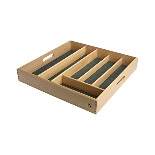 T&G Woodware DRAWER SIZE CUTLERY TRAY IN FSC BEECH WITH GREEN LINING 38.2 x Width 38.2 x Height 6 cm