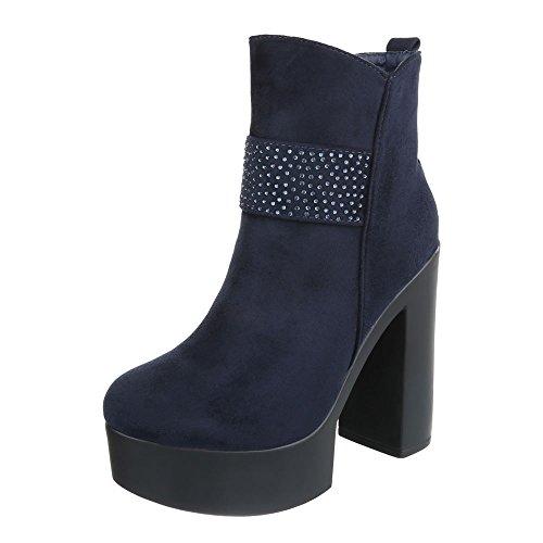 Ital-Design High Heel Stiefeletten Damen-Schuhe Schlupfstiefel Pump High Heels Reißverschluss Stiefeletten Dunkelblau, Gr 39, 55-531-