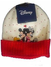 """Bonnet Blanc Mickey Mouse et Minnie Mouse """"En Amour"""", Image Brodée - Marchandise certifiée Disney"""