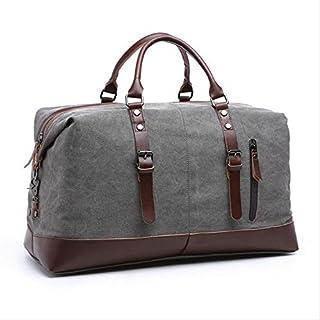 KJPOKLJ Canvas Leder Herren Reisetasche Tragetasche HerrenGepäcktaschetravel Handtasche große Wochenendtasche Übernachtung Herren Handtasche grau-B