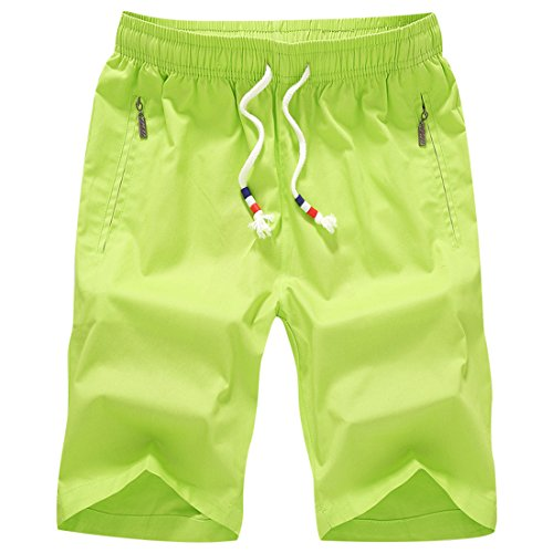 Honeystore Herren Shorts Casual Bermuda Baumwolle Sommer Sport Hose in 12 Farben Grün 4XL