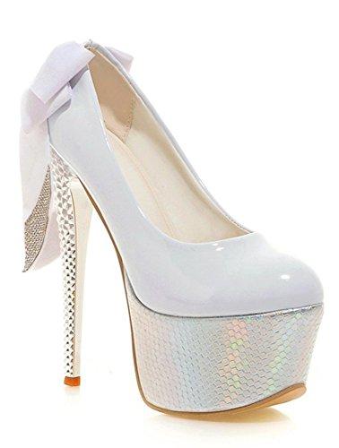 YE Damen Geschlossen 16cm Heels High Heel 6 Inch Stiletto Elegante Bogen Pumps mit Strass Schuhe (35EU, Weiß)