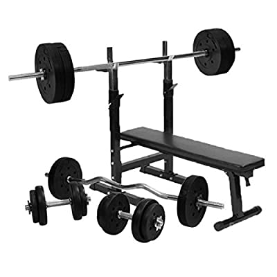 Gorilla Sports Weight Bench with 100KG Vinyl Complete Weight Set from TNP Accessories