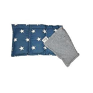 Kissenscheune Körnerkissen Natur Wärmekissen jeans blau Sterne/kariert Wendekissen100% Baumwolle 50x20cm Dinkelkissen