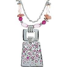 925f67c36633 Collar largo colgante en color plata - Collar de cadena multicapa con  cuentas rosa y pedrería