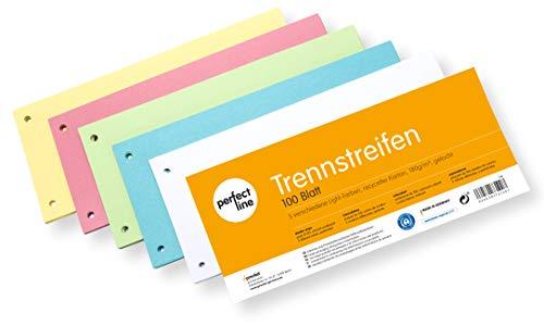 perfect line 100 Stück Papier-Trennstreifen bunt, Register-Trenner in 5 Light-Farben, Trenn-Blätter farbig sortiert, Karten mit 160g/m², bunte Laschen für perfektes Trennen der DIN-A4 Ordner & Akten