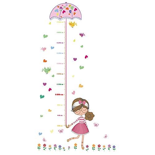 Winhappyhome Pretty Girl Kinder Höhe Aufkleber Wachstum Messung Art Wand Aufkleber für Mädchen Raum Wohnzimmer Kinderzimmer Hintergrund Abnehmbarer Decor Aufkleber
