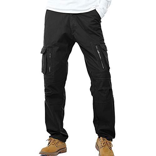 Vertvie Herren Hosen Lange Multi Taschen Velour Slim Fit Cargohosen Freizeithose Warm Pants Arbeitshose Baumwolle (Schwarz, EU 54/Etikettengröße 38)