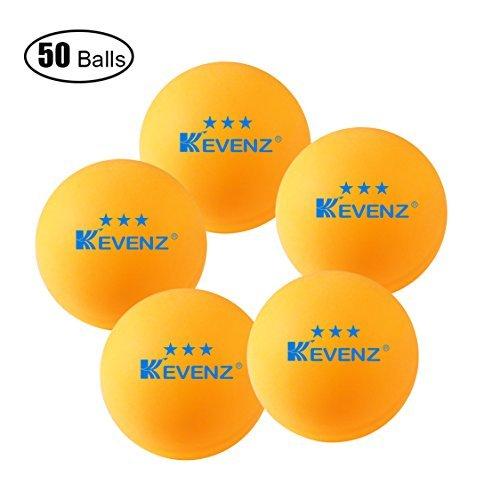 50oder 100zählt kevenz 3-Sterne-40mm Tischtennis Ball Advanced Training Ping Pong Bälle (orange, weiß), 50 Counts_Practice_White -