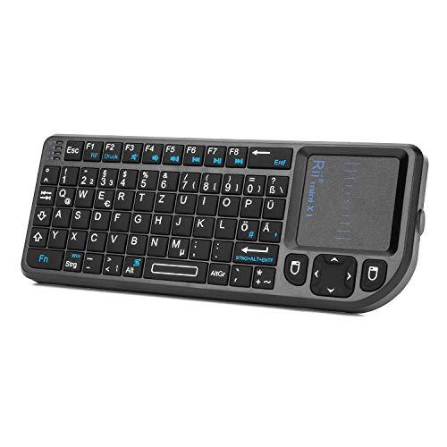 Rii X1 2.4GHz Mini Tastatur Wireless mit Touchpad-Maus und Multimedia Tasten, Mini Wireless Keyboard, 2.4Ghz USB wiederaufladbare Handheld USB Schnittstelle für PC/ PAD/ XBox 360/ PS3/Google Android TV Box/HTPC/ IPTV ( De Layout )