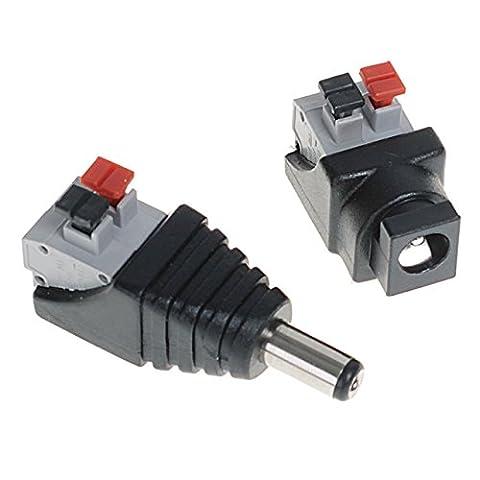 Convertisseur DC Adaptateur 5,5mm Mâle Prise Fiche + Connecteur Femelle pour l'éclairage Caméra CCTV Bande LED Fils Bricolage