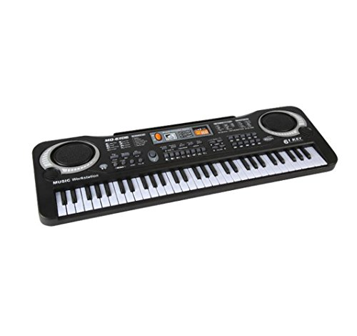 QXMEI Kinder Keyboard 61 Tasten Keyboard Tastatur Mit Mikrofon Piano Black