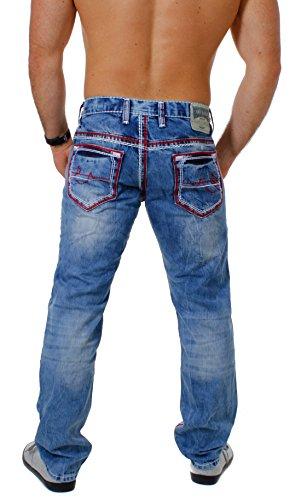 Amica Herren denim Jeans Hose straight leg gerade Passform vintage look mit Kontrastnähte Blau / Rot-Weiß