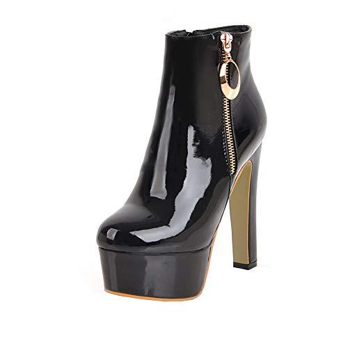 Y2Y Studio Femmes Plateforme Confortables Bottines Courtes Vernis Brillant Bout Rond à Talons Hautes Aiguilles 13cm Thin Heels Ankle Boots Sexy Hiver Couleur Unie Zip
