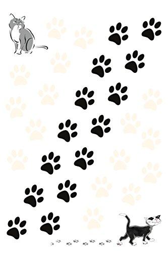 Autocollant pattes du chat 300 x 200 mm noir/blanc