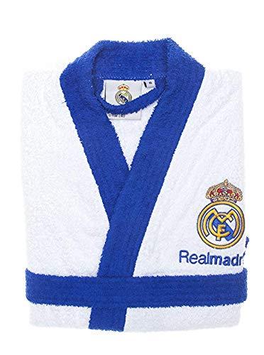 Real Madrid Albornoz Escudo Bordado Blanco/Azul XXL