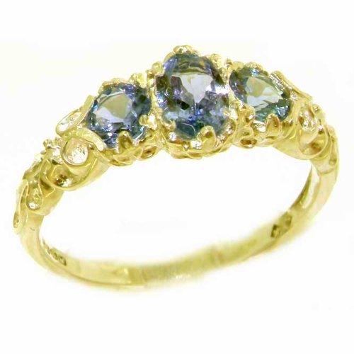 Englisch Damen-Ring solide 9 Karat Gold Gelbgold Tansanit - Verfügbare Größen : 50 bis 64 (Größe 9 Tansanit-ring)