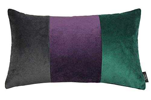 McAlister Textiles Rechteckiges dreifarbiges Patchwork Sofakissen aus SAMT mit Füllung | 50cm x...