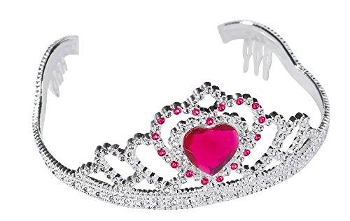 Prinzessin Krone / Diadem mit Herz Juwel (Silber / Pink) (Juwel Auf Der Krone)