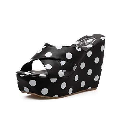 YAN Damen-Keilschuhe Neue Sommermode Damen High Heels Peep Toe Slippers Polka-Dot Schuhe Party Evening Dress Sheos,Black,36 Peep-toe Polka Dot-slingback
