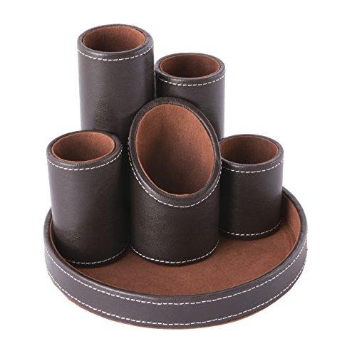 Osco - portapenne da scrivania in ecopelle, con 5 elementi tubolari, colore: marrone