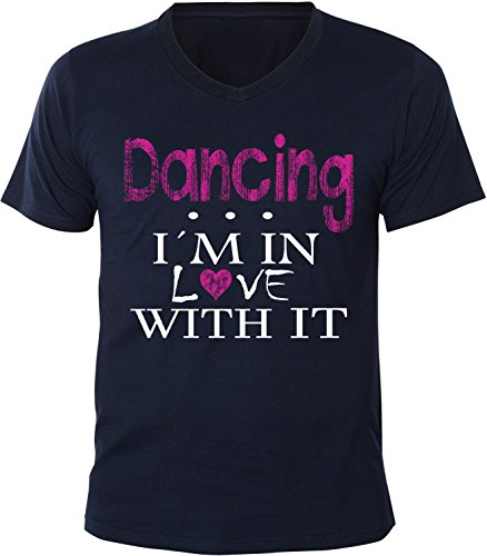 Mister Merchandise Herren Men V-Ausschnitt T-Shirt Dancing - I´m in love Tee Shirt Neck bedruckt Navy