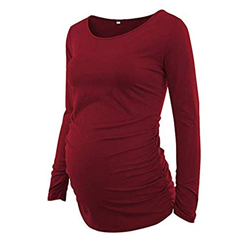 Mutterschafts Frauen Lange T-Shirt Weich Herbst Langarmshirt Kleidung Einfarbig Rundkragen Tuniken Bluse für Schwangerschaft Umstandsmode Pullover Bauchfrei Oberteile