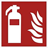 Klebe-Peter 12 Stück (10 + 2 Gratis) Hochwertige Aufkleber Schild Feuerlöscher 10cmx10cm vorgestanzt Selbstklebend für Innen & Außen mit UV Schutz