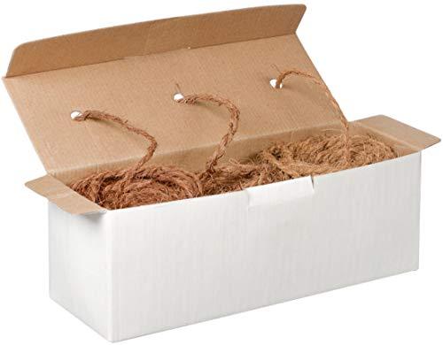3 x 25 m Cordage de coco - 3 couleurs naturelles dans le rouleau - Corde-coco: cordon de jardin marron | Corde-marron 100% à base de fibres naturelles