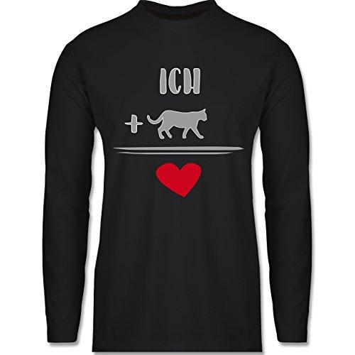 Shirtracer Statement Shirts - Katzen-Liebe - Herren Langarmshirt Schwarz