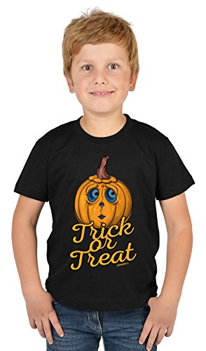 Kinder Halloween T-Shirt - Kindershirt Halloweenparty : Trick or Treat - Kinder Tshirt Spruch lustiger Kürbis Gr: L = - Lustige Trick Or Treat Kostüm
