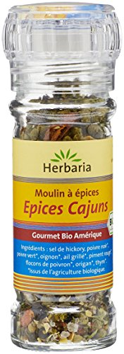 Herbaria Epices Cajuns Mélange d'Épices Bio pour BBQ Moulin 45 g