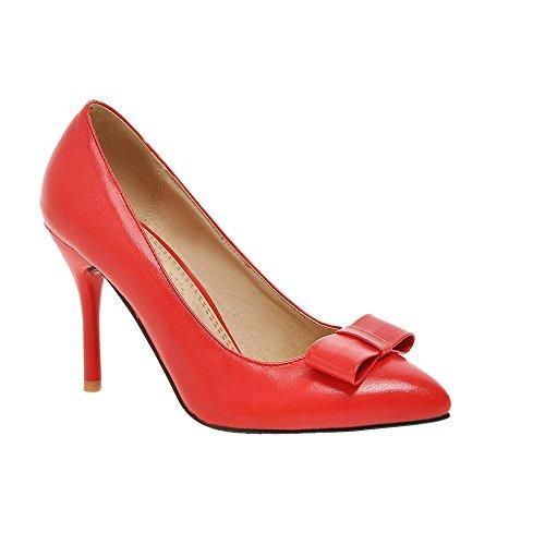 Guoar Stiletto Spitze Zehen Damenschuhe Rutsch Büro-Dame Pumps mit Bowknot Rot