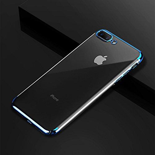 iPhone 7 Hülle, iPhone 8 Hülle GAVAER Galvanisieren Telefonkasten Soft Flex Silikon Premium Kratzfest TPU Ultra Dünn Durchsichtige Handyhülle für Apple iphone 7/8 Schutzhülle, Blau (Flex-7 Objektiv)
