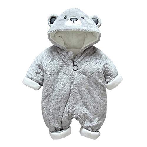Livoral Neugeborenes Baby Jungen Mädchen Little Bear Strampler Overall Warme Plüsch Outfits Kleidung(Grau,5-10 Monate)