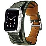 icarercase® 3 in 1 correas para apple watch Cuero de la alta calidad Replacement Correa De Reloj Pulsera Watch Band De Reloj Replacement Strap watchband para Apple iWatch Reloj (3 in 1 Green 42mm)