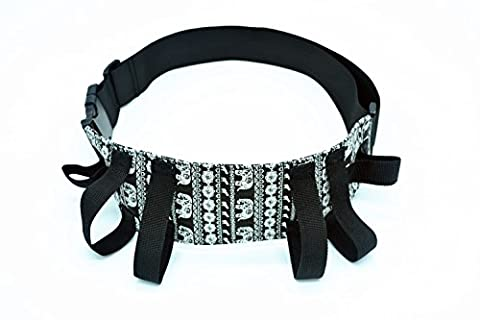 Case Wonder Black&White Bohemia Elephant Style Durable Fabric Physical Therapy Gait Belt Patient Transfer Belt with Soft Handles