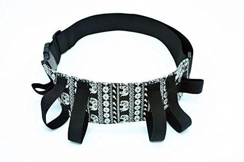 case-wonder-blackwhite-bohemia-elephant-style-durable-fabric-physical-therapy-gait-belt-patient-tran