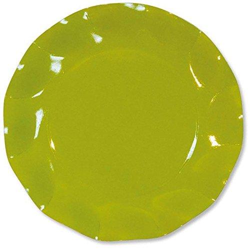 Ck - 10 Assiettes Carton D21cm Vert anis